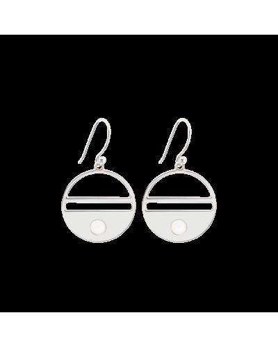 """Boucles d'oreille Talisman """"Médaille"""" argentées avec pierre naturelle"""