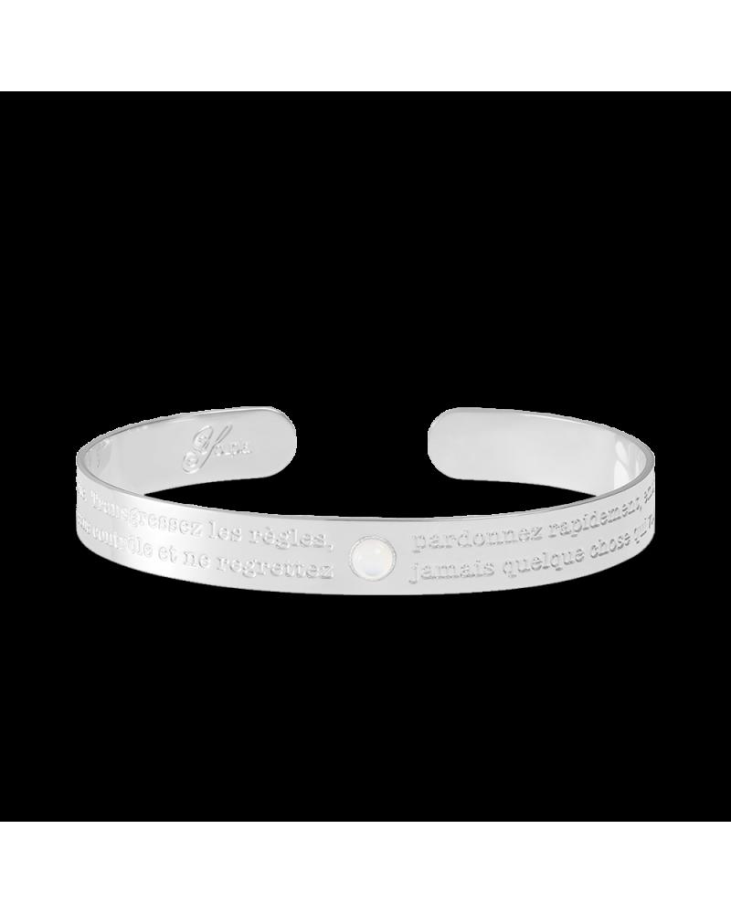 """Bracelet Talisman argentée avec pierre naturelle """"La vie est courte. Transgressez..."""""""